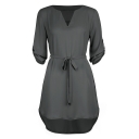 V Neck Half Sleeve Plain Leisure Cozy Tie Waist High Low Chiffon Mini Dress