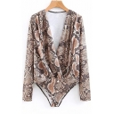 Retro Graffiti Printed Long Sleeve Plunge Neck Brown Casual Bodysuit