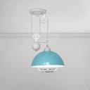 Single Light Pulley Pendant Light Colorful Vintage Metal Hanging Light in Blue/Orange