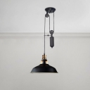 Adjustable Barn Shade Hanging Lamp Vintage Iron Suspended Light in Matte Black for Bedroom