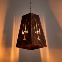Aged Iron Trapezoid Hanging Lamp Industrial Wire Powered Suspension Light for Coffee Shop