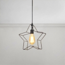 Star Shape Pendant Lamp Retro Style Iron 1 Light Suspension Light for Children Room
