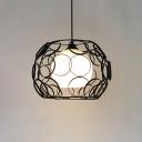 Vintage Globe Hanging Light White Glass Single Pendant Light in Black/White for Kitchen