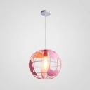 1 Light Tellurion Hanging Light Modern Steel Pendant Lamp in Pink/Yellow for Children Room