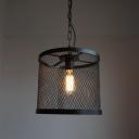 Retro Style Mesh Cage Ceiling Pendant Light Iron 1 Light Hanging Light in Black for Foyer