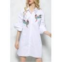 Fashion Striped Print Bird Embroidered Contrast Three-Quarter Sleeve Tunic Button Down Shirt