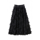 Graceful Feather Embellished Elastic Waist Solid Midi A-Line Skirt