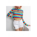 Popular Trendy Long Sleeve High Neck Zip Front Stripes Printed Cropped Blue Tee for Girls