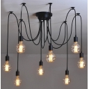 8 Light Edison Bulb LED Multi Light Pendant Black Spider Chandelier for Living Room Restaurant