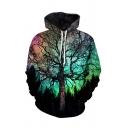 Trendy 3D Painting Tree Pattern Long Sleeve Casual Loose Unisex Hoodie