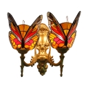 Multicolor Butterfly Lighting Fixture Tiffany Stained Glass Double Heads Wall Light