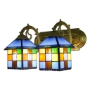 Multicolor Checkered Pattern Wall Lighting Tiffany Style Stained Glass 2 Heads Wall Lamp