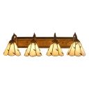 Leaf Pattern Wall Mount Light Tiffany Style Stained Glass 4 Lights Wall Light in Beige