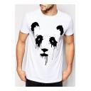 Lovely Panda Print Round Neck Neck Short Sleeve T Shirt