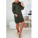 Fashion Stripe Print Kangaroo Pocket Round Neck Long Sleeve Sweatshirt Dress