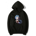 Cute Cartoon JINX Pattern Long Sleeve Casual Hoodie