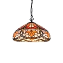 Leaf Design Ceiling Pendant Lamp Tiffany Stained Glass Single Light Drop Light in Multi Color