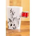 Drum Handle Design Ceramic Musical Notes Coffee Milk White Mug