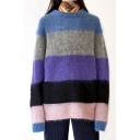 Blue Colorblock Long Sleeve Round Neck Tunics Loose Mohair Sweater