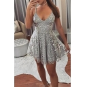 V Neck Sexy Hot Straps Sequined Gray Mini A-Line Dress