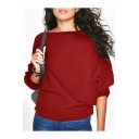 Boatneck Batwing Long Sleeve Simple Solid Casual Loose Pullover Sweater