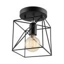 Squared 1Lt Semi Flush Ceiling Light in Black with Wire Cage for Kitchen Foyer Porch Bathroom