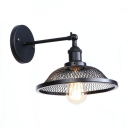 Industrial Dome Wall Sconce Metal 1 Light Wall Lamp in Black with Mesh Cage for Bedroom