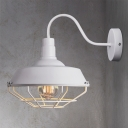White Finish Wire Guard Wall Lamp Vintage Iron Single Bulb Wall Light Fixture for Bedroom