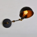 Steel Boom Arm Sconce Light Retro Style Iron 1 Bulb Wall Lighting in Black for Bedroom