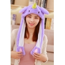 Tik Tok Cute Unicorn Moving Ear Purple Hat Cap