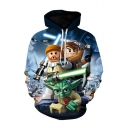 Hot Sale Long Sleeve 3D Cartoon Character Printed Unisex Oversize Blue Hoodie