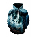 Hot Popular Long Sleeve Character Pattern Men's Loose Blue Hoodie