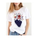 White Cotton Round Neck Short Sleeve Cardiac Pattern Comfort Casual T-Shirt