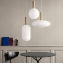 Post Modern Style Frosted Glass Shade Single Hanging Light Fixture in Gold Finish