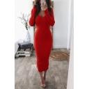 Hot Sexy Long Sleeve V Neck Plain Midi Bodycon Dress