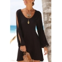 Women's V-Neck Cutout Long Sleeve Loose Casual Mini Black Beach Dress