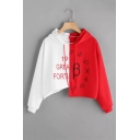 Fashion Red and White Colorblock Two-Tone Long Sleeve Loose Cropped Hoodie