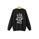 Lovely Cartoon Letter Applique Crewneck Long Sleeve Casual Leisure Sweatshirt
