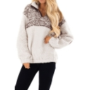 Stand Collar Half-Zip Fashion Two-Tone Patched Elbow Long Sleeve Khaki Sweatshirt