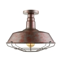 Old Rust Wire Guard Single Light 14'' Wide Industrial LED Semi Flush Light