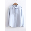 Bow Tied Collar Long Sleeve Concealed Button Front Basic Solid Shirt