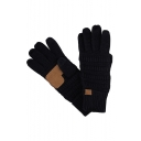 Unisex Cable Knit Winter Warm Anti-Slip Touchscreen Patched Texting Gloves
