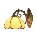Beige/Blue Petal Shape Wall Lamp Tiffany Style Stained Glass Vintage Wall Sconce