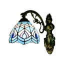 Aqua Dome Wall Light Nautical Tiffany Style Stained Glass Wall Sconce for Bathroom