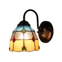 Geometric Wall Lamp Tiffany Style Stained Glass Wall Sconce in Multicolor for Staircase