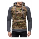 Men's Stylish Camo Colorblock Long Sleeve Gray Slim Fitted Hoodie