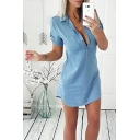 Sexy Long Sleeve Button Front Lapel Collar Blue Plain Tunics Blouse Shirt