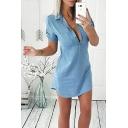 Sexy Long Sleeve Button Front Lapel Collar Blue Plain Tunics Blouse Shirt