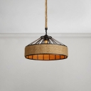 Manila Rope Shade Suspension Light Industrial Metal Single Drop Light in Black for Restaurant