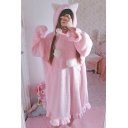 Cute Cat Ear Hooded Long Sleeve Pompom Embellished Ruffle Hem Midi Shift Fleece Pajama Dress